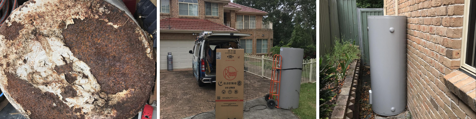 Rusty old water heater being replaced